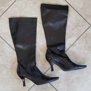 Franco Sarto Knee High Pointed Toe Black Boots 👢